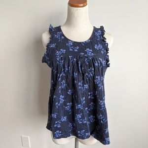 Lucky Brand Navy Blue Floral Blouse Top Small